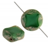 Fire polished 15mm Cut Round Diamond Green Marble Edge